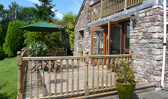 The terrace at Dan Castell Holiday Cottage