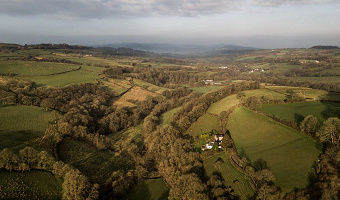 Dan Castell Holiday Cottage from the air