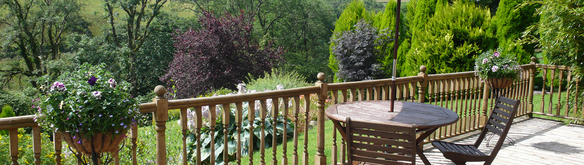 The view from the balcony at Dan Castell Holiday Cottage
